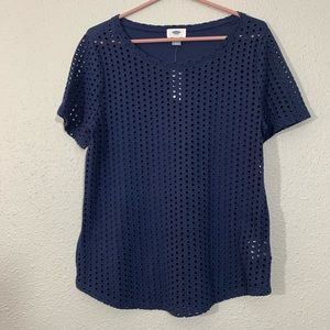 Old Navy NWT  Navy Eyelet Circle T-Shirt size M